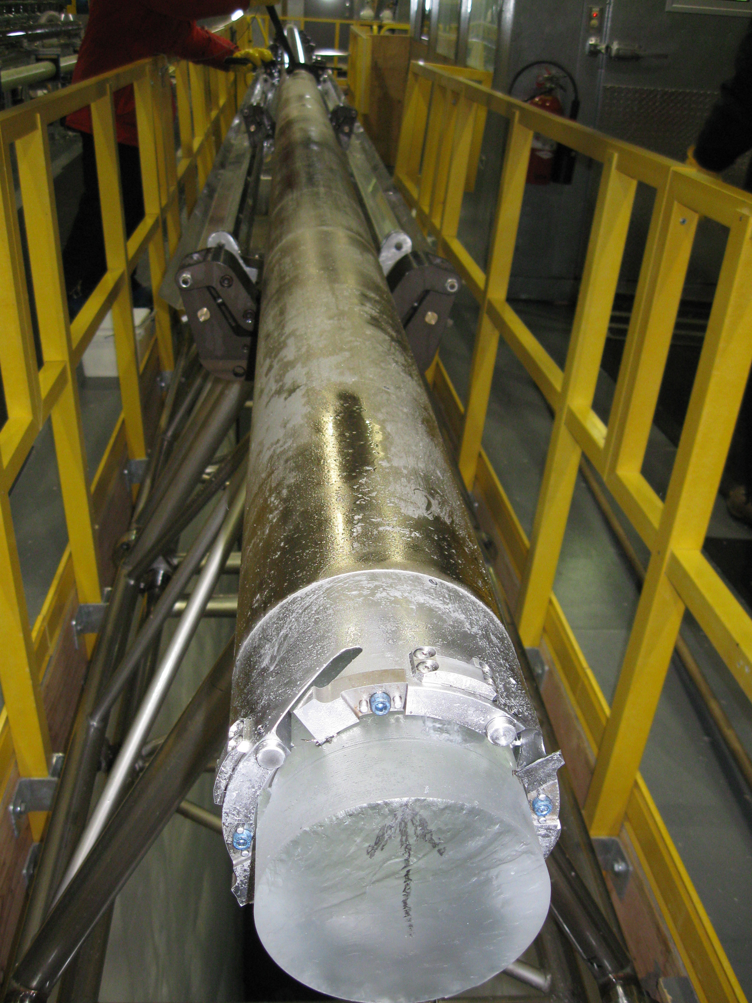 ice core Three 1-meter lengths from a core that penetrated through the entire 3,022-meter-thick greenland ice sheet.